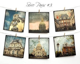 Set of six postcards 14x14cm - series Paris 03