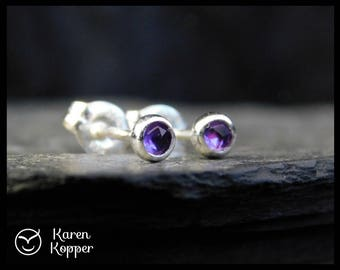 February birthstone earrings - Natural purple amethyst, rose cut cabochon 3mm, in a sterling silver bezel, Ready to ship. 118
