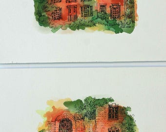 Architectural Art Watercolor Set of Two, Pen and Ink drawing, Orange and Green original Abstract Painting,  7x5 sfa,  wall art, fine art