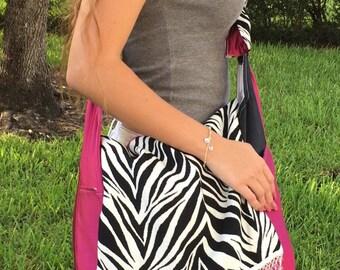 Hand made fabric adjustable shoulder bag