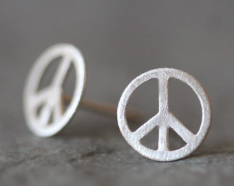 Peace Sign Stud Earrings in Sterling Silver