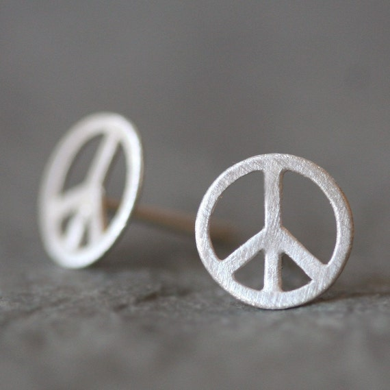 boho peace black silver sign jewelry stud faceted pin symbol earrings bohemian crystals with sterling
