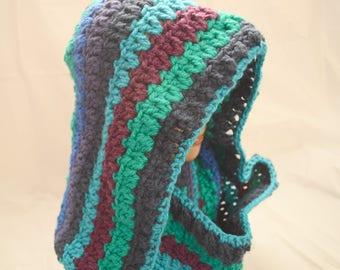 Mulit-color crocheted hood, snood, scoodie