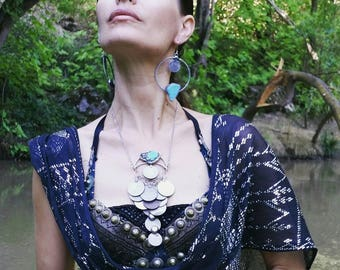 Divine Dancer silver coin necklace with turquoise- Tribal fusion, bellydance handmade bohemian, tribal style