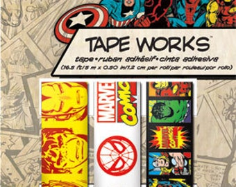 Marvel Classic Tape Works (3 rolls) Marvel Heroes Washi Tape • Superhero Tape (SC9931)