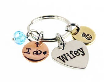 Wedding Day Something Blue Hand Stamped Key Chain - Wifey Charm - Zipper Charm - Best Day Ever Wedding Gift - expressions bracelets
