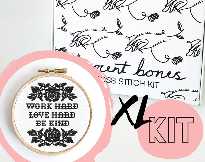 Featured listing image: XL Work Hard, Love Hard, Be Kind Modern Cross Stitch Kit - easy chart design positive good vibes bad taste mature embroidery kit swear words