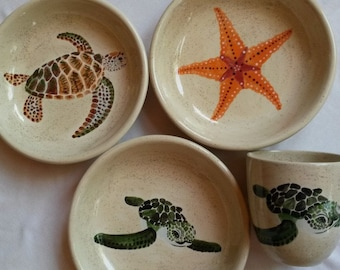Sea turtle on sand Ghost crab stingray cuttlefish ocean animals sea star dinner plate scallop shell bright colorful sea life pottery bowls