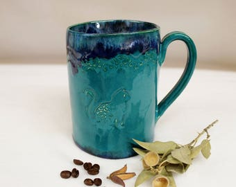 Extra Large Teal Coffee Mug with Ornate Cat