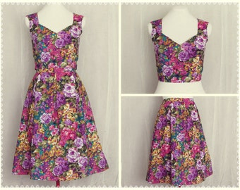 Garden Paradise 2-Piece Set - Floral Crop Top and Pleated Skirt Set, Summer 2 Piece Dress, OOAK in Size Small