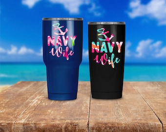Navy Wife Patterned Yeti Decal | Laptop Sticker | Car Vinyl | Lilly Pulitzer Inspired | Military | Milso Spouse Gift By JG Squared Creations