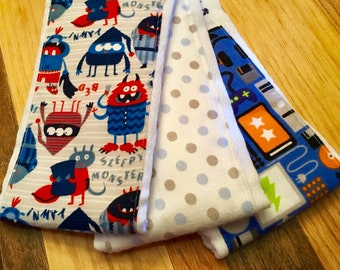 Boys Burp Cloth, Set of 3, Super Absorbent, Soft Flannel, Cloth Diaper Burp Cloth, Baby Boy, Gaming Motif, Silly Monsters