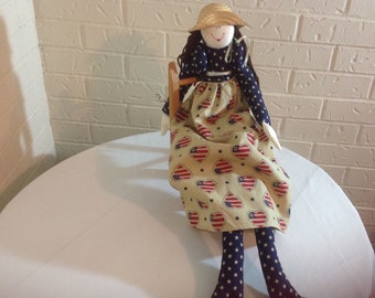 Americana doll Primitive Americana rag doll Americana porch sitter doll Patriotic doll