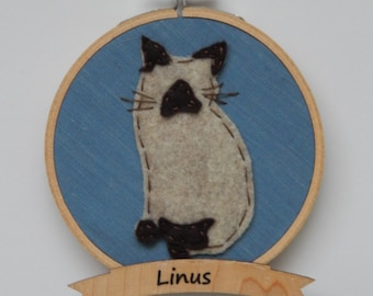 """4"""" Siamese Cat Embroidery Hoop Ornament"""