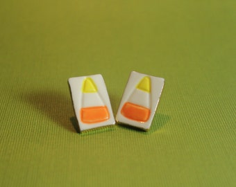 Candy Corn Halloween Earrings Handmade Porcelain Ceramic Jewelry