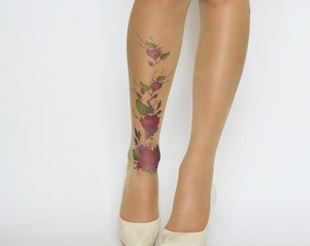 Delicate Tattoo Tights With Purple Flowers , Printed  Handmade Tights , Tattoo Women's Pantyhose