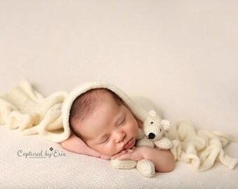 Teddy Bear Lovie Newborn Baby Infant Photography Prop Knit Teddy Bear Stuffed Animal Bear Toy Knit Bear Photo Prop Lovey Newborn Photo Prop