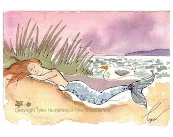 Mermaid Card - Painting Of Mermaid - Fantasy Illustration - Mermaid Greeting Card - Mermaid Illustration Print - 'Sleeping Beauty Mermaid'