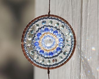 Mandala  Blue-gray-color Sun Catcher, Mandala art, Rainbow Maker,Window Decor,  Decoration, Housewarming gift,Window Prism,