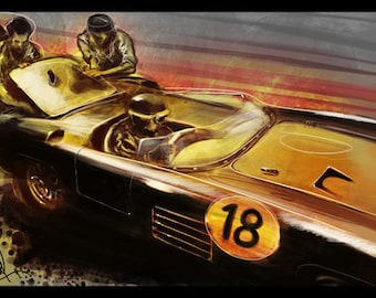 Automotive Art Grand Prix Pit Crew 16x24 Metallic Print