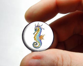 Seahorse Glass Cab Cabochon 25mm 20mm 16mm 14mm 12mm 10mm or 8mm - Design 8  - for Jewelry and Pendant Making