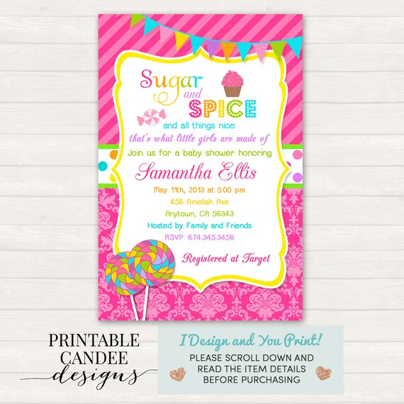 Sugar And Spice Baby Shower: Sugar And Spice Baby Shower Invitation Girl Baby Shower Pink