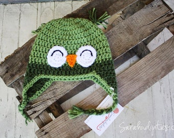 Baby Owl Crochet Hat - Leaf and Olive Green - 6-12 months
