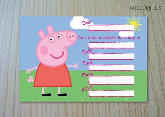 Printable Birthday Stationery Paper ~ Items similar to printable peppa pig birthday generic invitation 6x4
