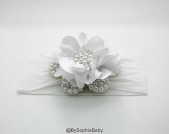 Baby Headband, White Pearl Flower Headband, Baby Flower Headband, Baby Headband, Big Flower Headband, Flower Girl Headband, 1040