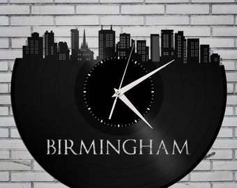 Birmingham Clock - Alabama Cityscape Art, Birmingham Wall Decor, Alabama Gift, Birmingham Skyline, Wall Decoration Idea, Vinyl Record Clock