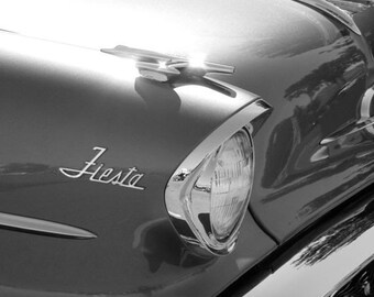 Fiesta - 8x10 Black and White Metallic Classic Car Photograph