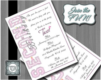 Baby Girl Second Birthday invitation, digital download, party invite, printable, personalised