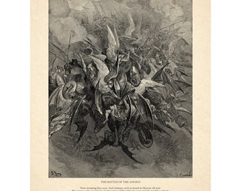 Gustave Dore's Battle of the Angels - Milton's Paradise Lost - Angels and Demons - Antique Religious Wall Art - Old Maps and Prints
