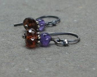 Mandarin Garnet, Amethyst Earrings January, February Birthstone Orange Purple Oxidized Sterling Silver