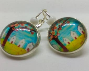 Earrings Silver 925 cabochon, visit the beach and its cabins