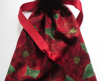 Poinsettia Lined Drawstring Fabric Gift Bag