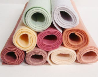 "Dusty Pink Soft Color Felts 9 Colors Collection of Wool Felt Blend Fabric Sheets 12"" x 18"""