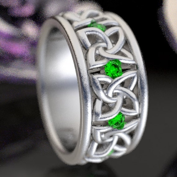 Celtic Wedding Ring with Emerald Stones in 4 Petal Flower Dara Knot Design in Sterling Silver, Made in Your Size CR-1010