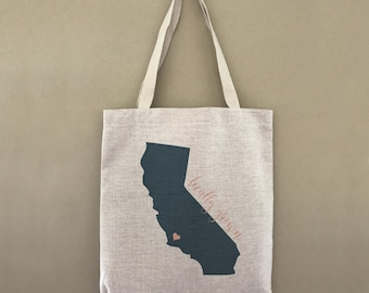 Custom Tote Bag Locally Grown California State Heart Customizable Personalized Gift For Her Gift For Him Shopping Bulk Farmers Market Tote