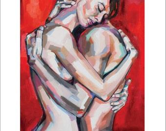 Lovers, fine art print of original oil painting