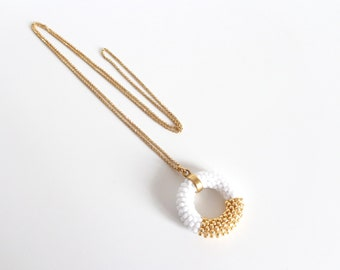 Circle Necklace // Gold and White Necklace // Long Pendant Necklace // Crochet Rope Necklace // Beaded Necklace // Gift idea