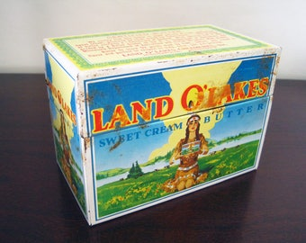 """Land O' Lakes Sweet Cream Butter Vintage Metal Lithography Recipe Card Holder Box – For 3"""" x 5"""" Recipe Cards"""