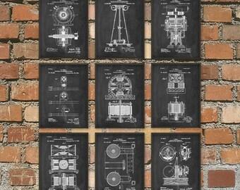 Tesla Patent Prints - Nikola Tesla Engineering Invention Patent - Tesla Motors - Tesla Coil Generator - Electric Circuit Poster Set Of 9