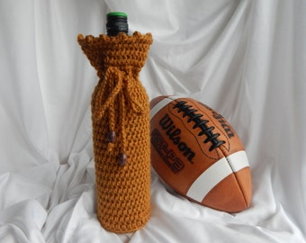 Wine Cozy - Crochet Wine Bottle Covers Sacks Gift Bags - Honey Brown with Football Beads