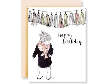Birthday Card Cute / Birthday Card Mom / Girl Birthday Card / Cute Girl Card / Mother Birthday Gift / Happy Birthday Card / Card for Wife