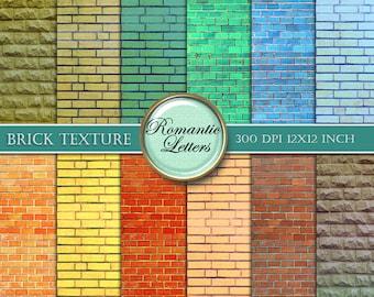 Brick texture digital paper pack Digital Scrapbook background paper digital brick wall texture digital photography backdrop digital Download