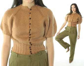 Vintage 40s Hand Knit Sweater Wool Short Sleeve Cardigan Fawn Tan Button Up Top 1940s Small S Pinup Rockabilly