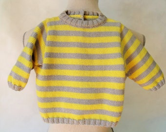 Sweater yellow and gray striped baby 6 months.