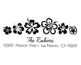 Hibiscus flower Return Address Stamp - Personalized Custom