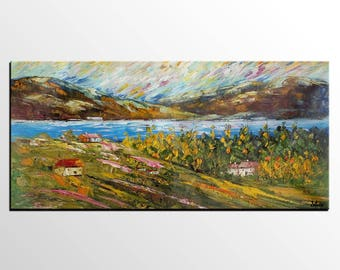 Large Canvas Art, Rustic Landscape Painting, Original Painting, Abstract Art, Large Wall Art, Abstract Art, Canvas Art,  Wall Decor